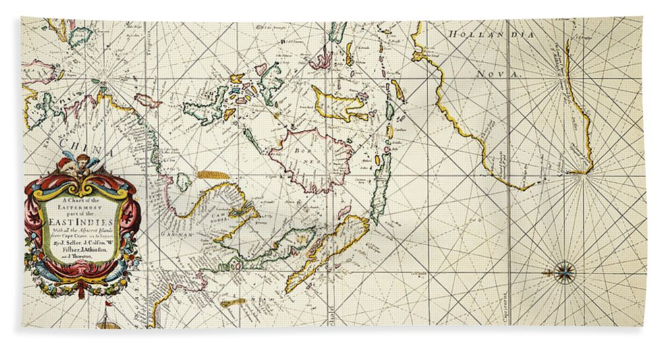 1670 Hand Towel featuring the painting Map: East Indies, 1670 by Granger