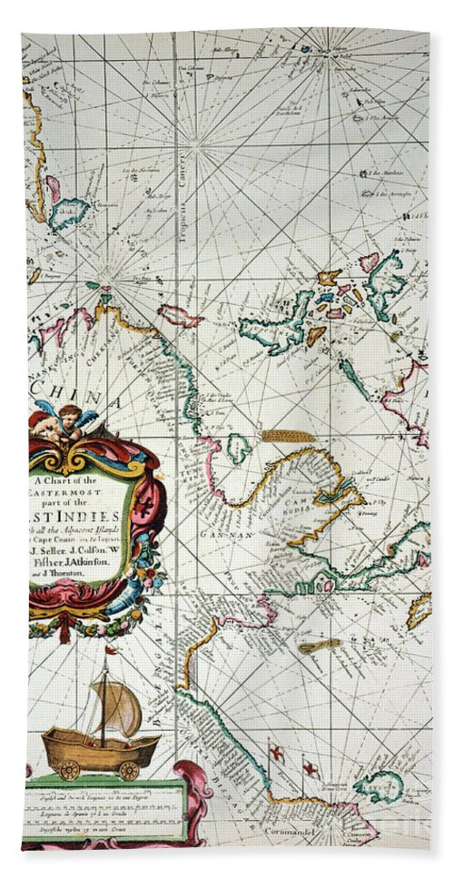 1670 Hand Towel featuring the painting East Indies Map, 1670 by Granger