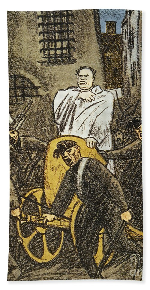 1925 Hand Towel featuring the painting Benito Mussolini Cartoon by Granger