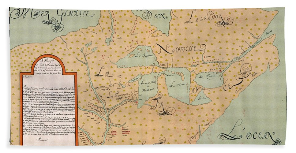 1674 Hand Towel featuring the painting Jolliet: North America 1674 by Granger