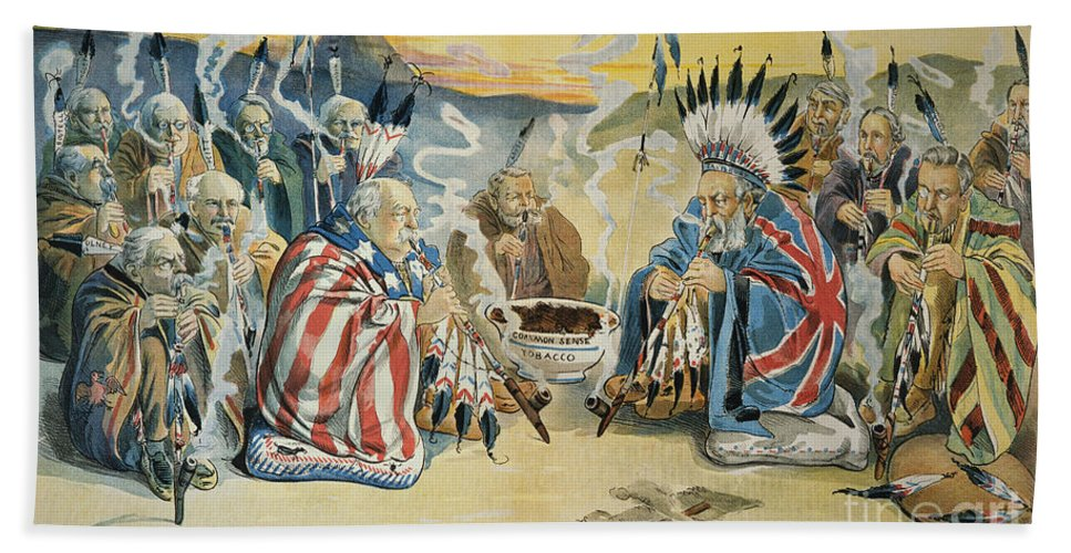 1896 Hand Towel featuring the painting G. Cleveland Cartoon, 1896 by Granger