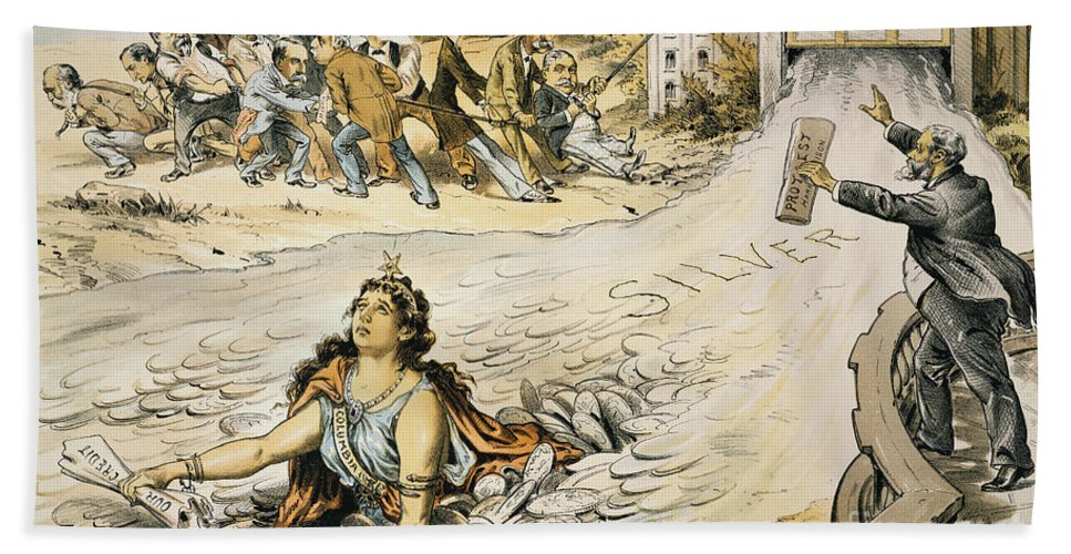 1890 Hand Towel featuring the painting Free Silver Cartoon, 1890 by Granger