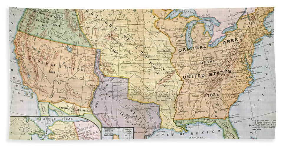 1905 Hand Towel featuring the painting Map: U.s. Expansion, 1905 by Granger