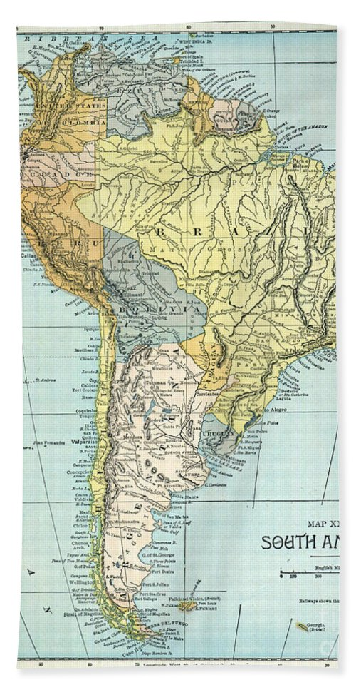 1890 Hand Towel featuring the painting South America: Map, C1890 by Granger