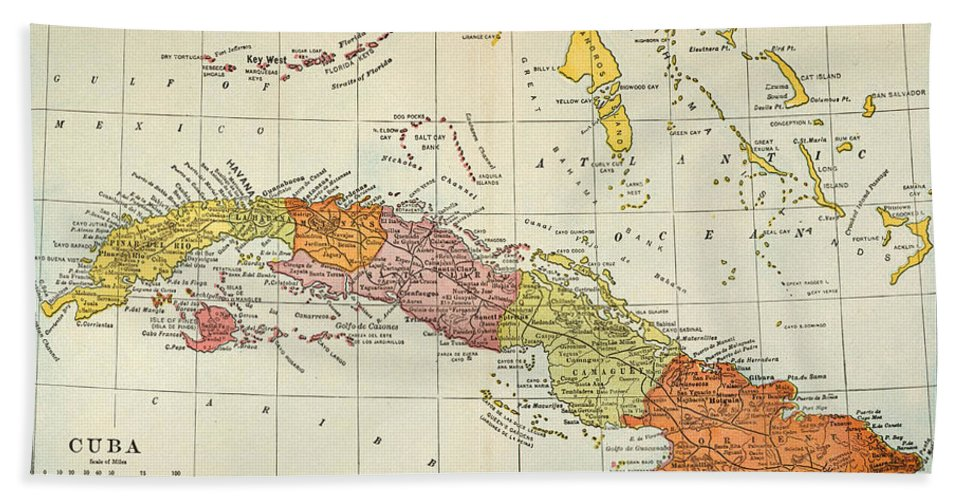 1900 Hand Towel featuring the painting Map: Cuba, 1900 by Granger