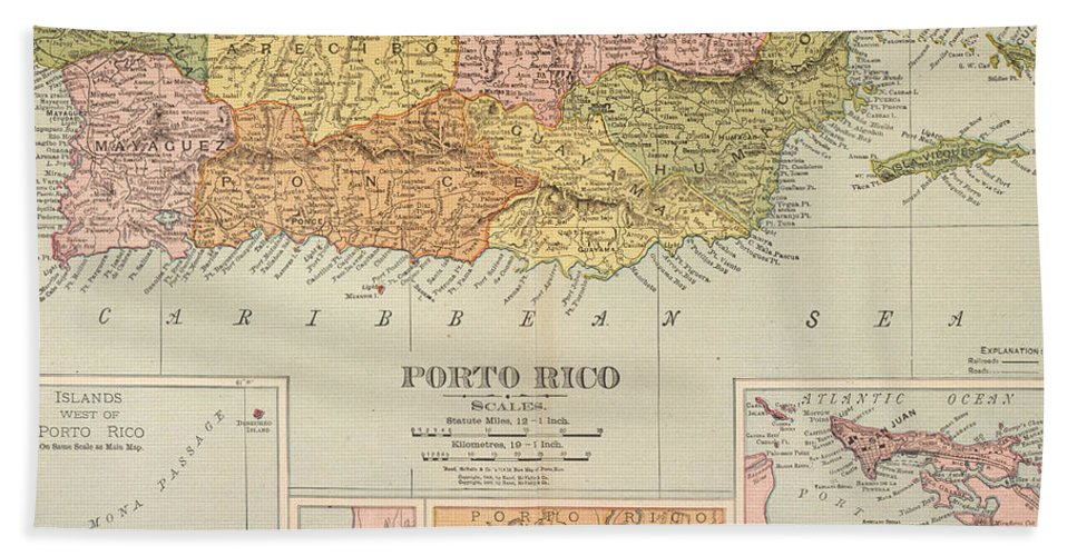 1900 Hand Towel featuring the painting Map: Puerto Rico, 1900 by Granger