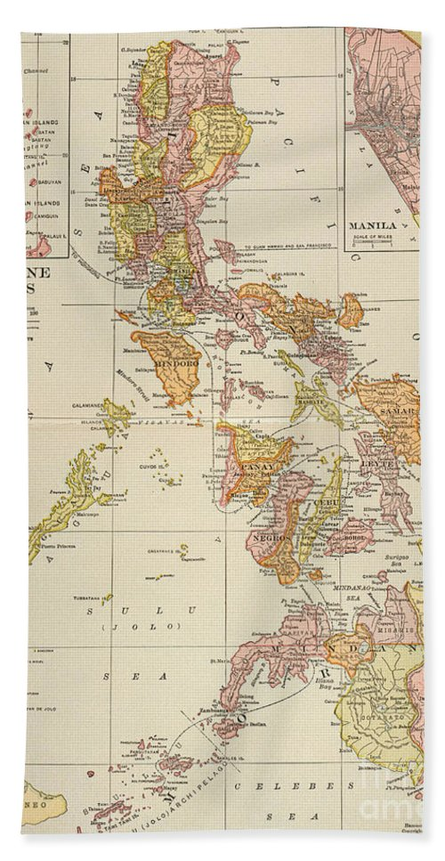 1905 Hand Towel featuring the painting Map: Philippines, 1905 by Granger
