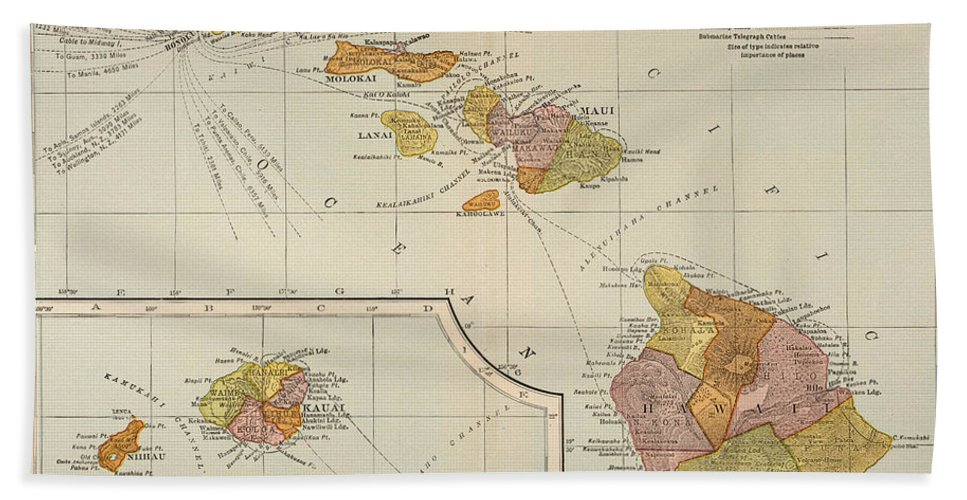 1905 Hand Towel featuring the painting Map: Hawaii, 1905 by Granger