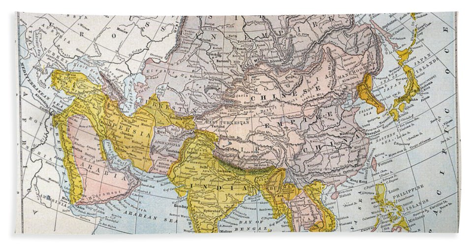 19th Century Hand Towel featuring the painting Asia Map Late 19th Century by Granger