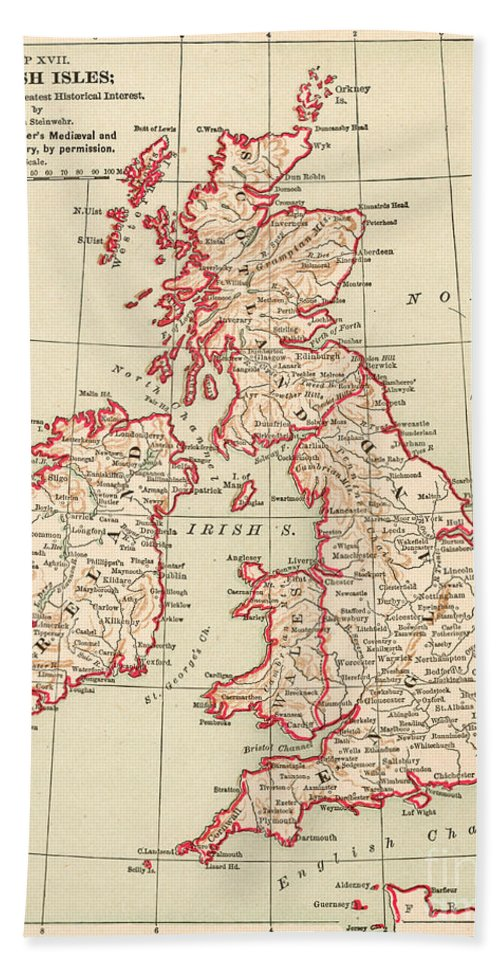 1890 Hand Towel featuring the painting Map: British Isles, C1890 by Granger
