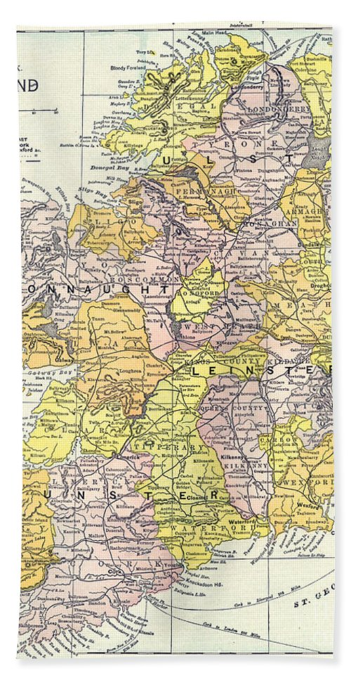 1890 Hand Towel featuring the painting Map: Ireland, C1890 by Granger