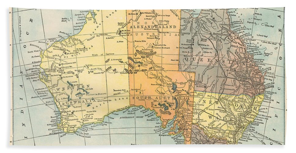 1890 Hand Towel featuring the painting Map: Australia, C1890 by Granger