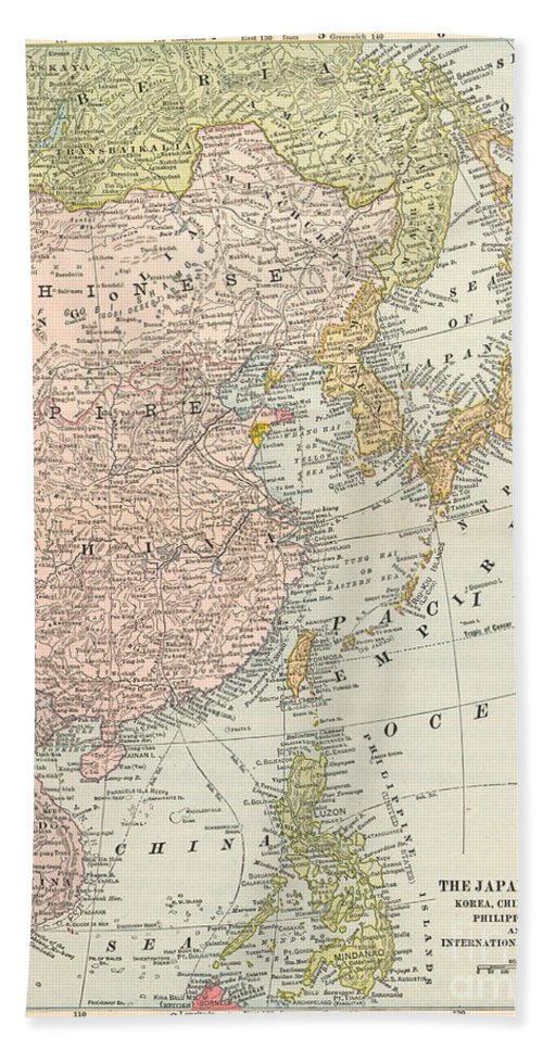 1907 Hand Towel featuring the painting Map: East Asia, 1907 by Granger