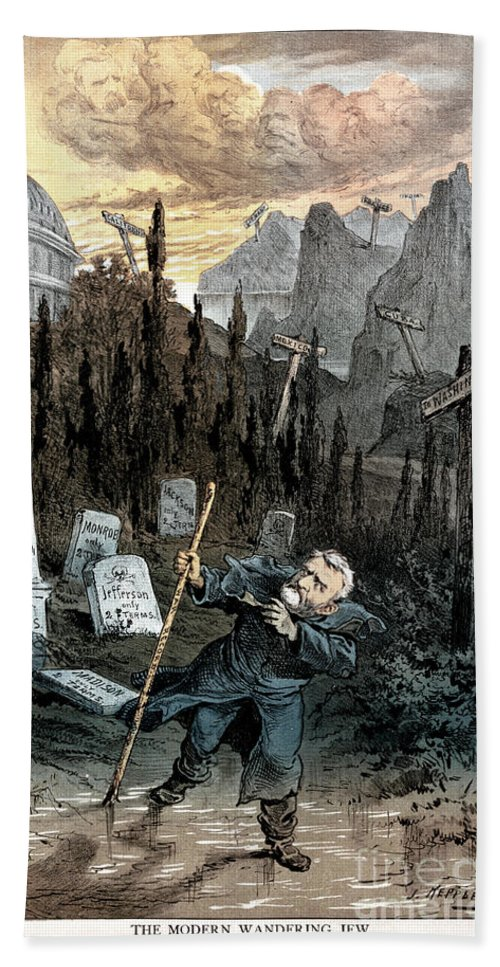 1880 Hand Towel featuring the painting Grant Cartoon, 1880 by Granger