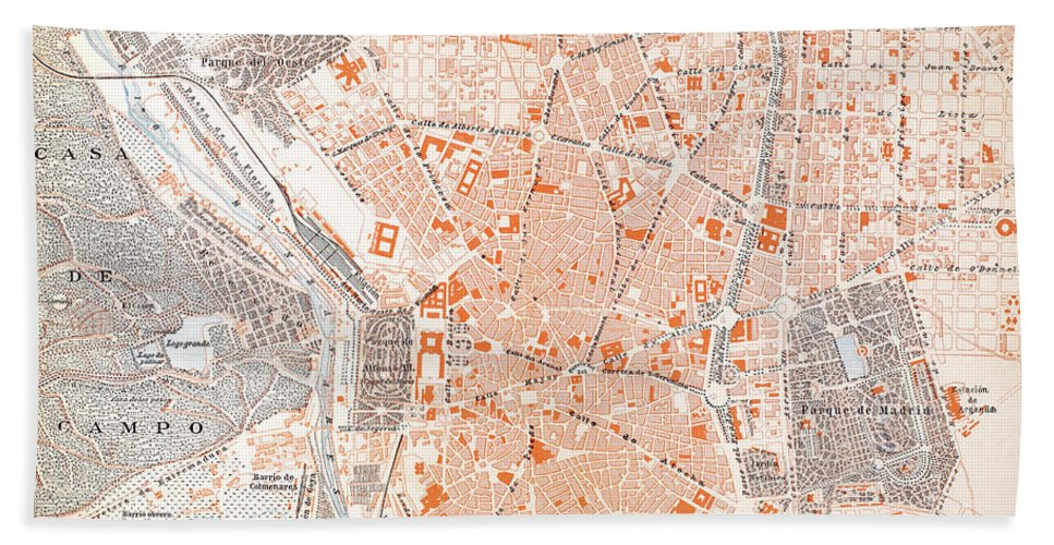 1920 Hand Towel featuring the painting Spain: Madrid Map, C1920 by Granger