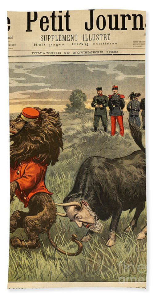 1899 Hand Towel featuring the painting Boer War Cartoon, 1899 by Granger