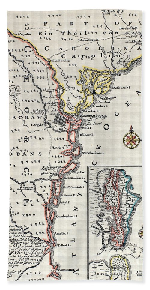 18th Century Hand Towel featuring the painting Map: North America, C1700 by Granger