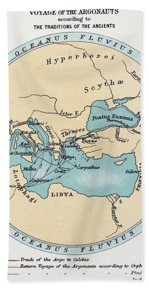 Africa Hand Towel featuring the painting Voyage Of The Argonauts by Granger