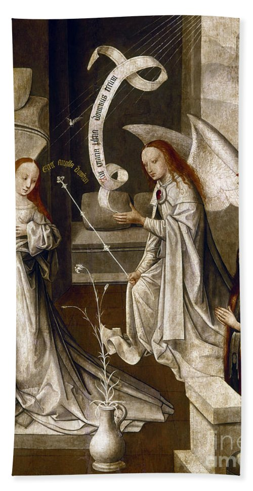1470 Hand Towel featuring the painting Spain: Annunciation, C1500 by Granger