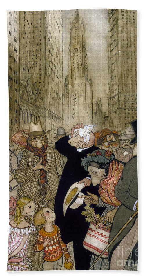 1924 Hand Towel featuring the painting Rackham: City, 1924 by Granger