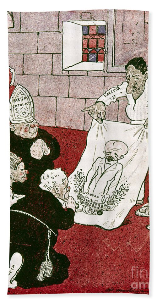 1910s Hand Towel featuring the painting Mexico: Political Cartoon by Granger