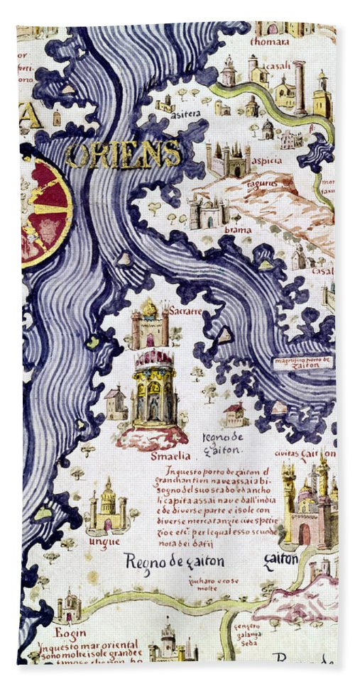 15th Century Hand Towel featuring the painting Marco Polo (1254-1324) by Granger