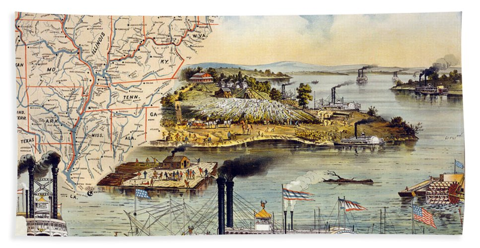 1895 Hand Towel featuring the painting Mississippi Steamboat by Granger