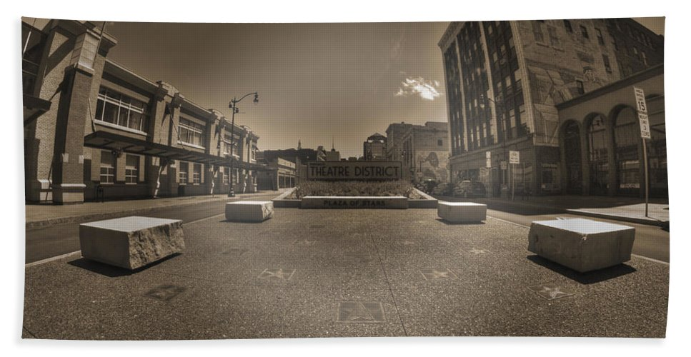 Buffalo Hand Towel featuring the photograph 02 Plaza Of Stars Sepia Tone by Michael Frank Jr