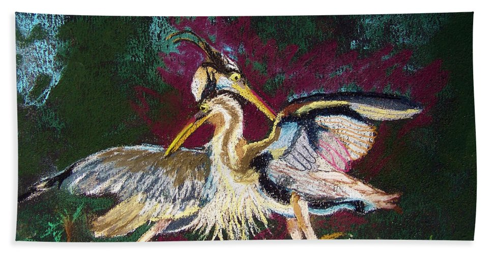 Blue Hand Towel featuring the pastel 021916 Blue Heron's Dance by Garland Oldham