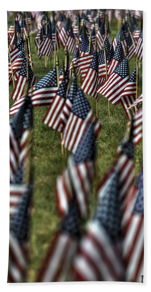Buffalo Bath Sheet featuring the photograph 03 Flags For Fallen Soldiers Of Sep 11 by Michael Frank Jr