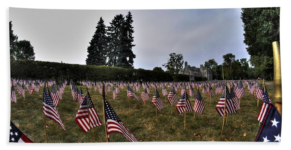 Buffalo Bath Sheet featuring the photograph 04 Flags For Fallen Soldiers Of Sep 11 by Michael Frank Jr