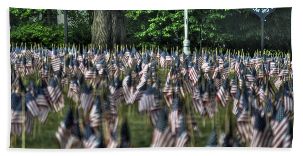 Buffalo Bath Sheet featuring the photograph 06 Flags For Fallen Soldiers Of Sep 11 by Michael Frank Jr