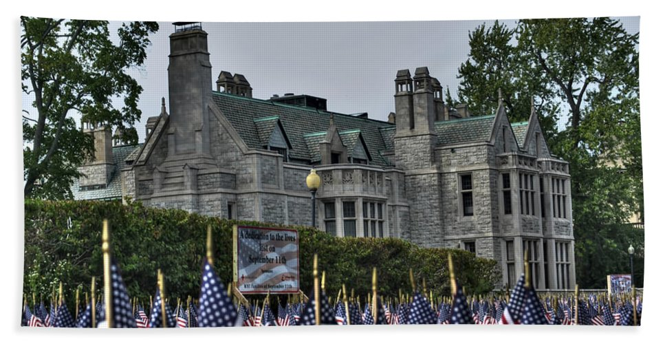 Buffalo Bath Sheet featuring the photograph 08 Flags For Fallen Soldiers Of Sep 11 by Michael Frank Jr