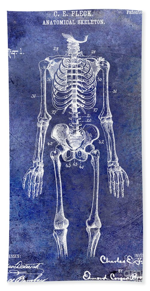 Skeleton Bath Sheet featuring the photograph 1911 Anatomical Skeleton Patent Blue by Jon Neidert