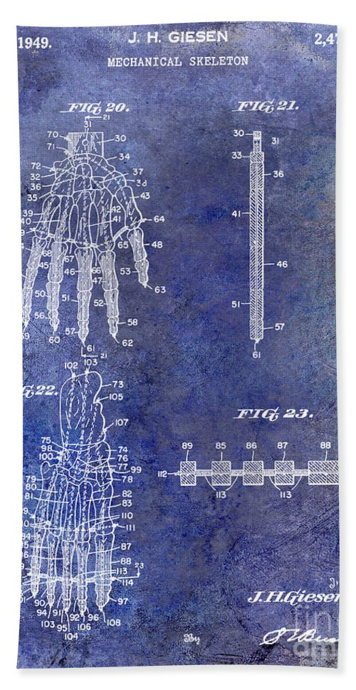 Skeleton Bath Sheet featuring the photograph 1911 Mechanical Skeleton Patent Blue by Jon Neidert