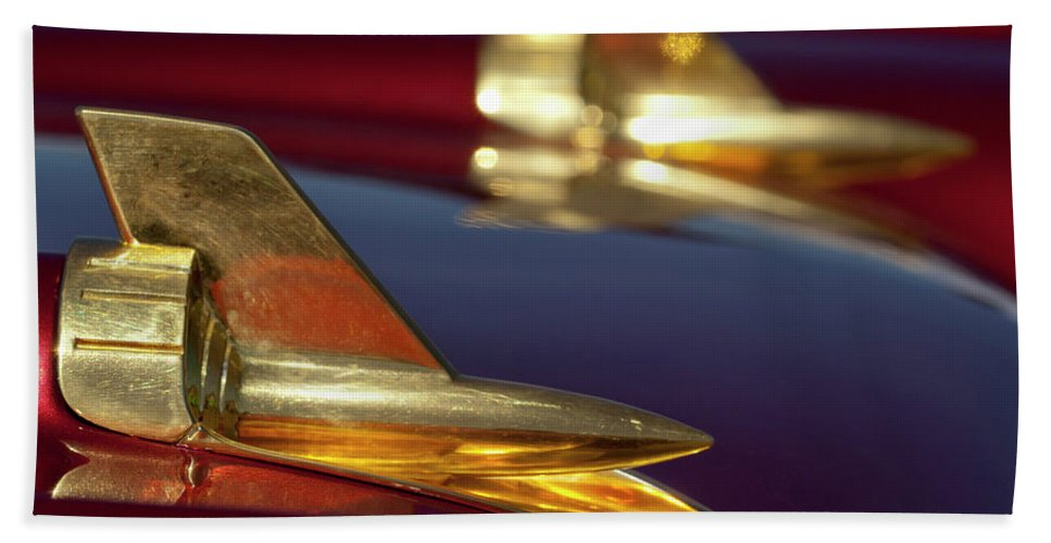 1957 Chevrolet Hand Towel featuring the photograph 1957 Chevrolet Hood Ornament by Jill Reger