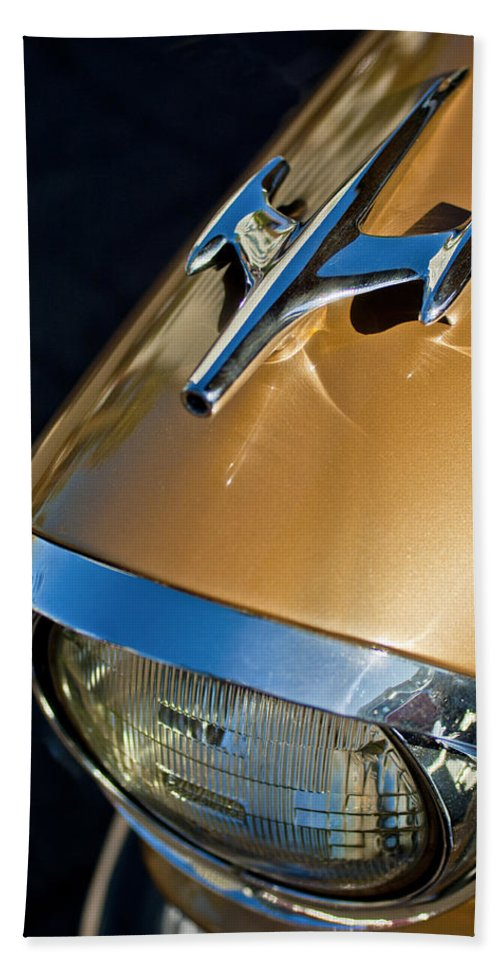 1957 Oldsmobile Super 88 Bath Sheet featuring the photograph 1957 Oldsmobile Super 88 Hood Ornament by Jill Reger