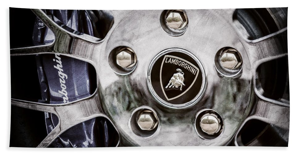 1997 Lamborghini Diablo Roadster Wheel Emblem Bath Towel featuring the photograph 1997 Lamborghini Diablo Roadster Wheel Emblem -1303ac by Jill Reger