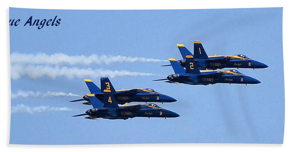 Blue Angels Bath Sheet featuring the photograph 1, 2 ,3 ,4 by Thomas Sexton