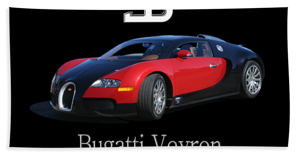 Tee Shirt Photo Art Of A 2010 Bugatti-veyron Bath Towel featuring the painting 2010 Bugatti Veyron by Jack Pumphrey
