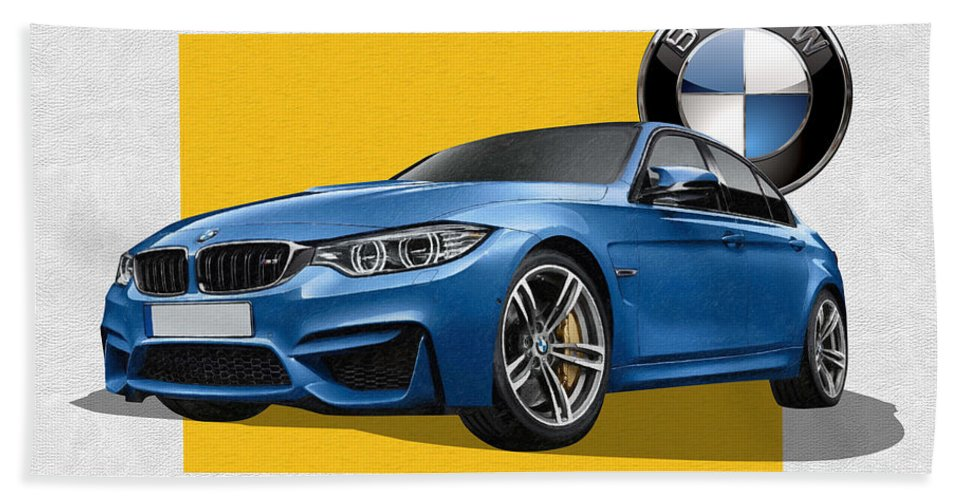 �bmw� Collection By Serge Averbukh Hand Towel featuring the photograph 2016 B M W M 3 Sedan with 3 D Badge by Serge Averbukh
