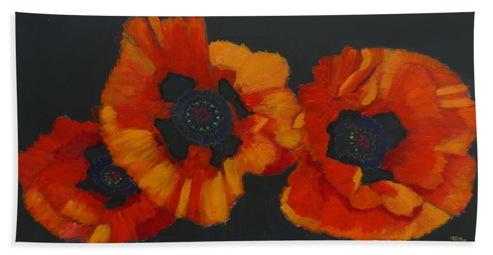 Flowers Bath Sheet featuring the painting 3 Poppies by Richard Le Page