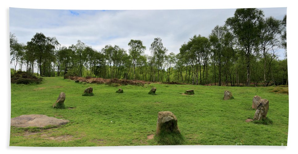 9 Ladies Stone Circle Hand Towel featuring the photograph 9 Ladies Stone Circle, Stanton Moor, Peak District National Park by Dave Porter