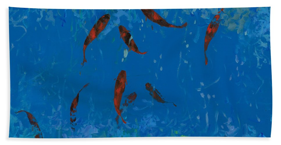 Fishscape Hand Towel featuring the painting 9 Pesciolini Rossi by Guido Borelli