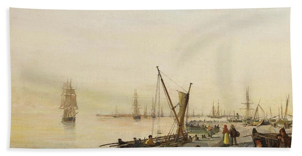 Constantinos Volanakis (greek Bath Sheet featuring the painting A Busy Harbour by MotionAge Designs