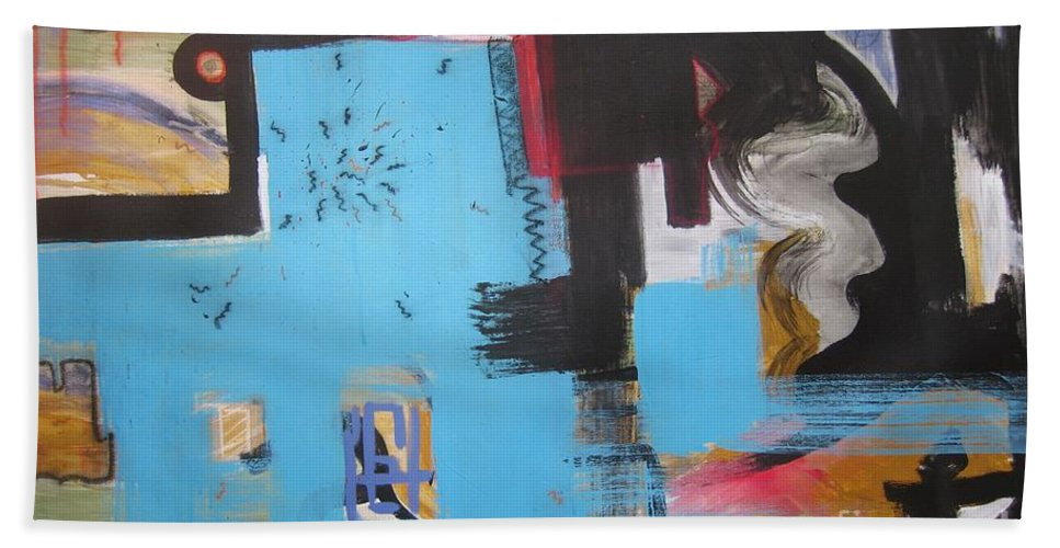 Abstract Bath Towel featuring the painting A False Painting by Seon-Jeong Kim