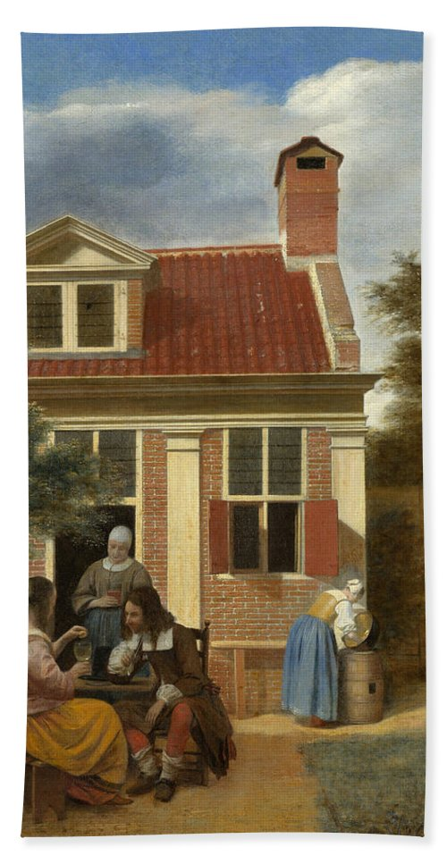 Backyard Hand Towel featuring the painting A Group At The Site Behind A House by Pieter de Hooch