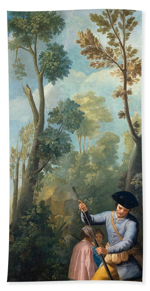 Animal Hand Towel featuring the painting A Hunter Loading His Shotgun by Francisco Goya