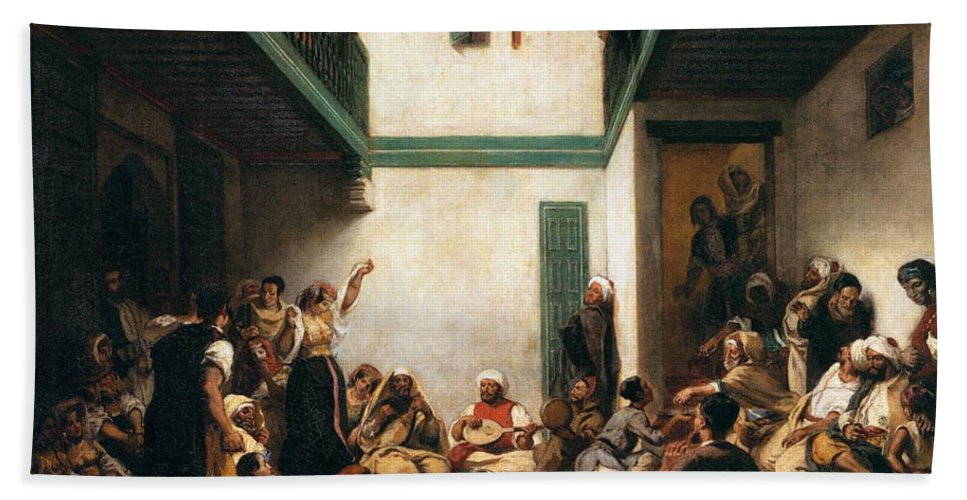 Arts Hand Towel featuring the painting A Jewish Wedding In Morocco by Eugene Delacroix