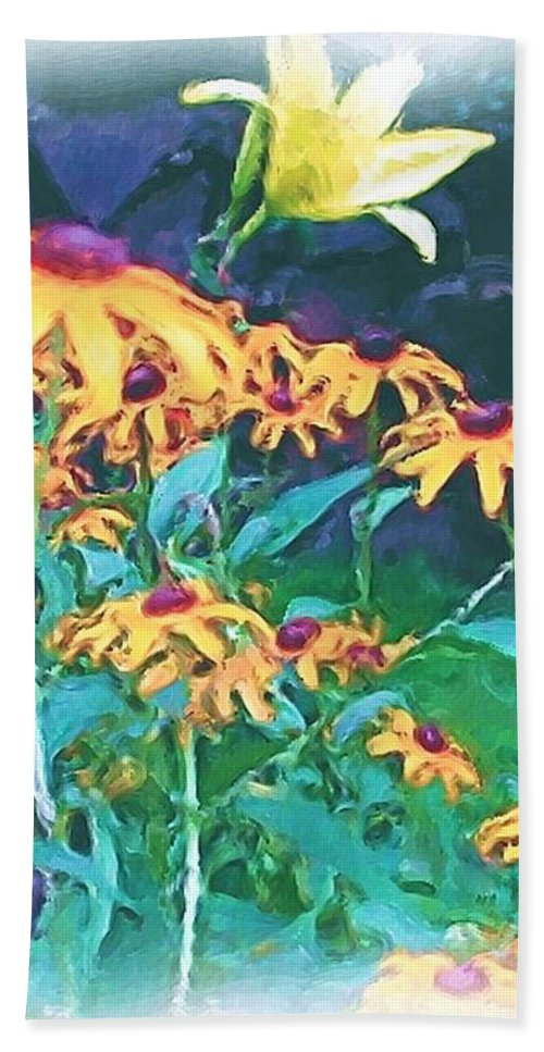 Mixed Media Bath Sheet featuring the painting A Lily in the Field by Patricia Griffin Brett
